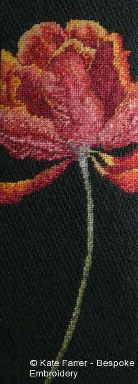 Canvaswork/needlepoint shading/shaded hand embroidery of a tulip