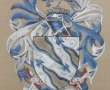 Canvas painting of a family crest