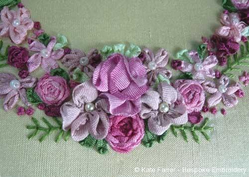 French style ribbonwork hand embroidery horseshoe