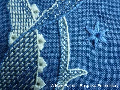 Pulled threads hand embroidery as a whitework hand embroidery on even weave linen fabric