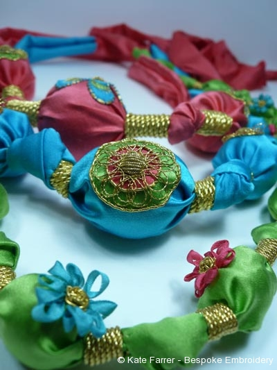 Ribbonwork knotted fabric necklace