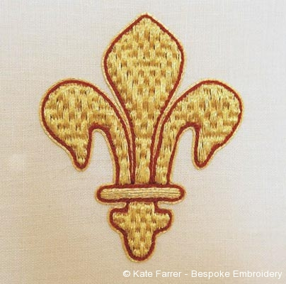 Fleur de lis symbol ecclesiastical metal thread goldwork hand embroidery/embroidered
