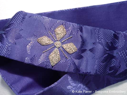 Vestment stole with hand embroidered/embroidery cross at neck on damask fabric