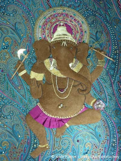 hand appliqué embroidery/embroidered Ganesha Hindu god in kid leather with some corded edges
