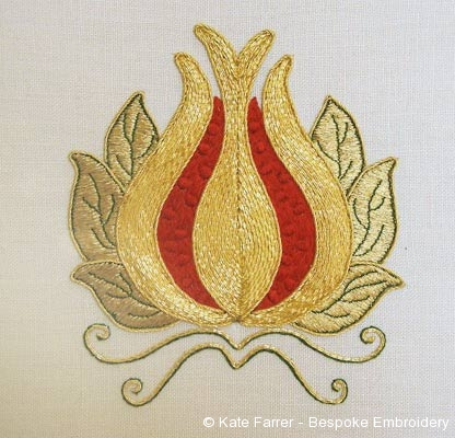 Pomegranate symbol ecclesiastical metal thread hand embroidery/ embroidered- hand embroidered in silk and gold threads