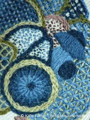 Jacobean crewel wool work hand embroidery