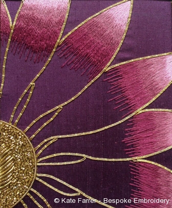 Silkshaded and gold embroidered cosmos hand embroidered flower
