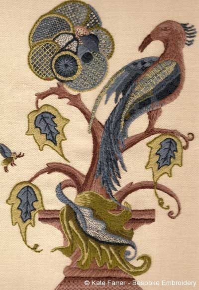 Jacobean crewel work including hand embroidery stitches